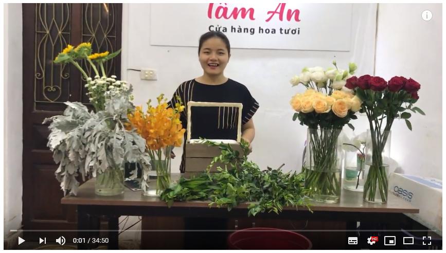 Hướng dẫn cắm lẵng hoa chúc mừng | điện hoa hà nội | Shop Hoa Tâm An